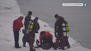 Man gets rescued from icy Lake Michigan
