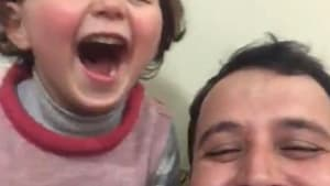 Syrian father invents game to protect daughter