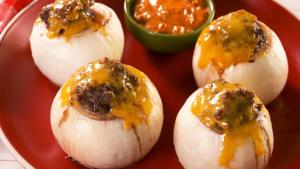 Keto burger stuffed onions are gluten-free