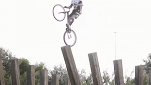 Trick bicyclists complete mind-blowing jumps