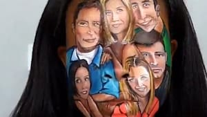 Makeup illusionist draws cast of 'Friends' on face