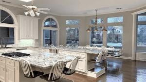 A bizarre photo of a fancy kitchen has baffled social media users