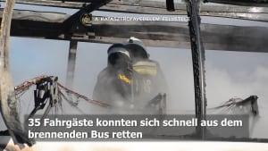 Reisebus auf Budapester Autobahn in Flammen!