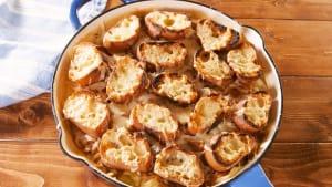 French onion fettuccine Alfredo is a dream dish