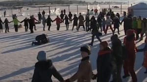 Frozen surface of lake turned into a dance floor