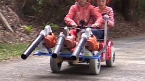 Dad builds leaf blower-powered go-kart for chores