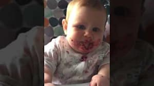 Baby puckers mouth after eating blackberries