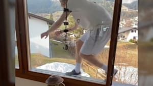 Freestyle skier built a parkour course at home