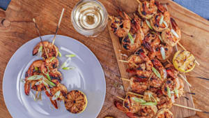 Red chili and ginger marinated grilled shrimp