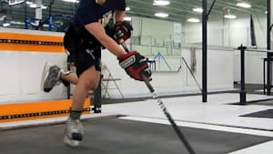 Ice skating treadmill designed for hockey training