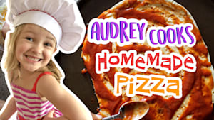 Audrey cooks homemade pizza