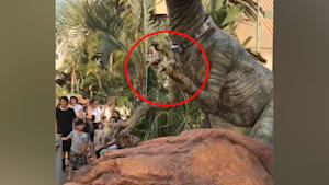 Woman shares handshake with a theme park dinosaur