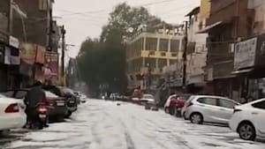 Delhi's streets are covered in hail after freak storm