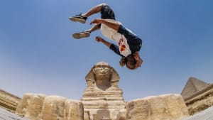 Athlete turns ancient sites of Egypt into a parkour playground
