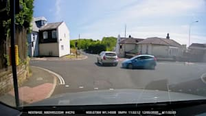 Car Driver Stops at Right Moment to Avoid Collision With Another Car Jumping red Light