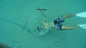 Man Makes Ring Shaped Bubbles Underwater