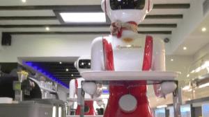 Robotic waiters serve tables at Dutch restaurant