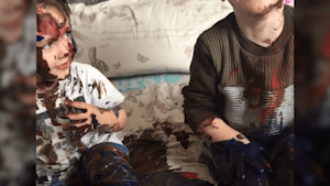 British mom discovers toddlers covered in paint