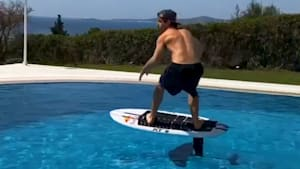 Greek water ski champion pushes his limits with 'floor is lava' challenge