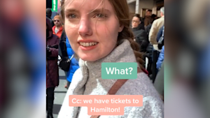 Daughter is surprised by gifted 'Hamilton' tickets