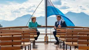Markus Söder trifft Angela Merkel auf Schloss Herrenchiemsee