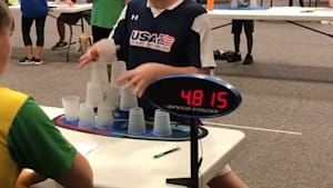 This kid is the fastest cup stacker we've ever seen