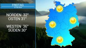 Das Deutschland-Wetter:  5-Tage-Trend - Hochsommer und bis zu 35 Grad, aber auch Wärmegewitter