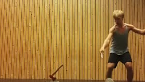Circus Artist Performs Cool Trick Using Axe and Diabolo