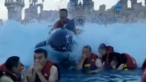 Chinese man on inflatable whale flies over crowds at water park's wave machine