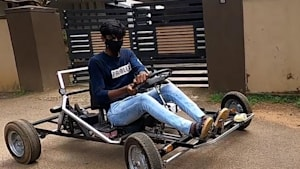 Teenager designs go-cart by using his dad's old motorbike scraps