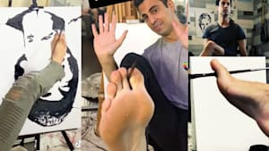 Artist and illusionist 'Shimshi' paints incredible portraits upside down with his feet