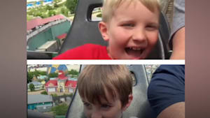 Dad records son's first roller coaster ride and gets wild footage