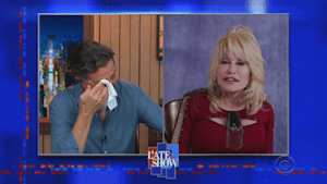 Dolly Parton's singing brings Stephen Colbert to tears on 'The Late Show'
