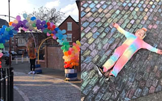 Sisters create giant NHS street tribute with balloons and chalk