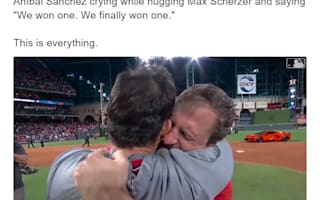 ワシントン・ナショナルズの投手2人が、初のワールドシリーズ制覇で感動の抱擁【映像】