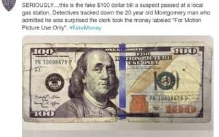 米国で映画撮影用の偽札を使った男が逮捕される
