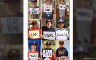 米国の野球少年による、自主隔離のユニークな呼びかけメッセージが話題に