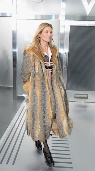 Kate Moss wears the biggest fur coat ever, probably - AOL Lifestyle