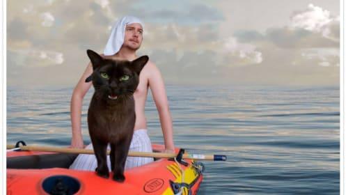 飼い猫と挑む映画のワンシーンを再現したインスタが話題に
