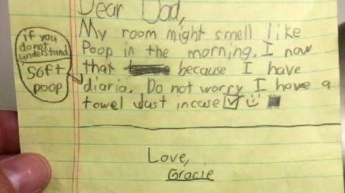 「パパへ  わたしの部屋は今朝うんちの臭いがすると思います」 娘が父へ贈ったある手紙が話題に