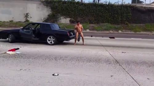 高速道路のど真ん中に全裸男が出現、叫びまくって大暴れ!【動画】