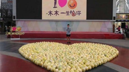 【これは悲惨】男子学生が彼女の好きな果物をハート型に並べてサプライズで愛の告白→こっぴどくフラれるwww