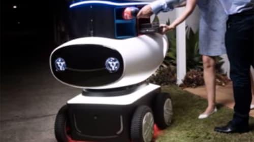 ドミノ・ピザが開発したにっこり笑顔のピザ宅配ロボットくんが可愛いすぎると話題に【動画】