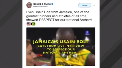 「政治の材料に使わないで」、ボルトを国歌斉唱論争に巻き込んだとしてトランプ大統領に非難の声