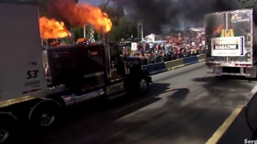 おそロシアの巨大トラックが炎・黒煙をぶち撒く!男気爆発なゼロヨンレースがスゴすぎる