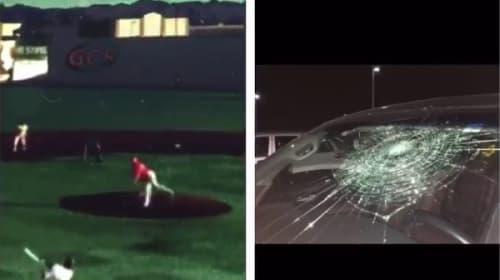 【嘘だろ!】場外満塁ホームランを放ち「ヤッタ―!」→自分の車に直撃しフロントガラスが・・・