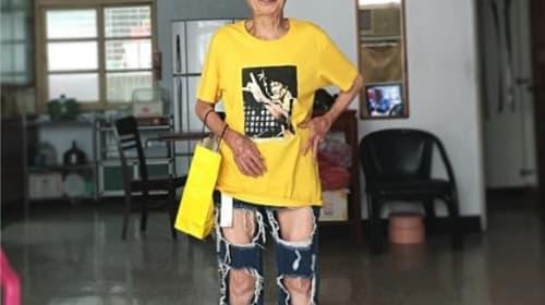 ストリート系ファッションを着こなす88歳台湾人女性がネットで話題に