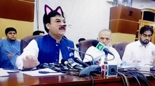 Pakistan chiefs accidentally add cat filter to Facebook Live press conference