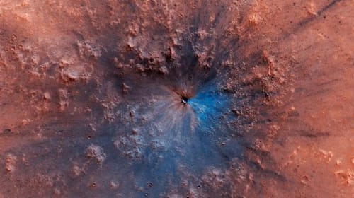 NASA spacecraft spots spectacular new crater on the surface of Mars
