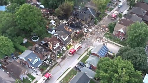 Car hits house and causes blast that wrecks seven homes